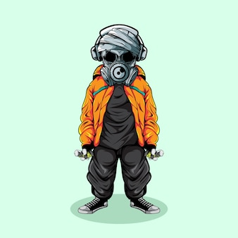 Skull of graffiti artist illustration