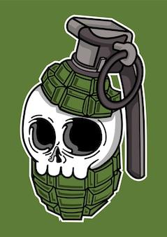 手描きの頭蓋骨手榴弾のイラスト