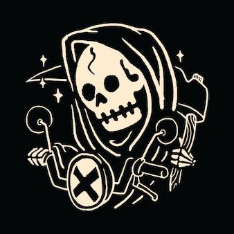 Skull grim reaper biker rider illustration