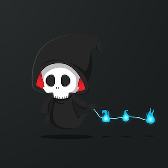 Skull grim reaper character illustration. free vector