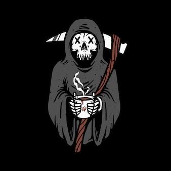 Skull grim reaper love coffee  illustration