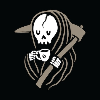 Skull grim reaper love drink coffee illustration