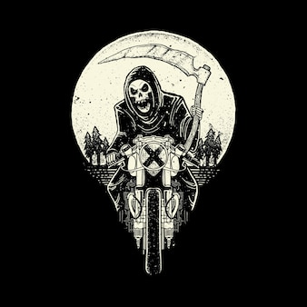 Skull grim reaper ride motorcycle  illustration