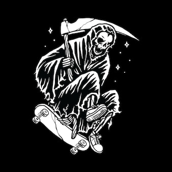 Skull grim reaper skateboarding line graphic illustration vector art t-shirt design