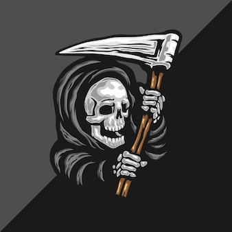 Skull of grim reaper with the sickle logo.