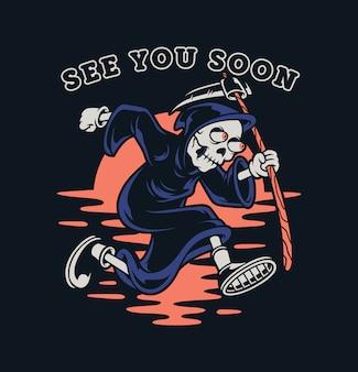 Skull of grim reaper with the sickle premium