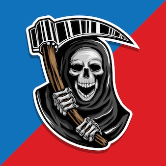 Skull of grim reaper with the sickle.