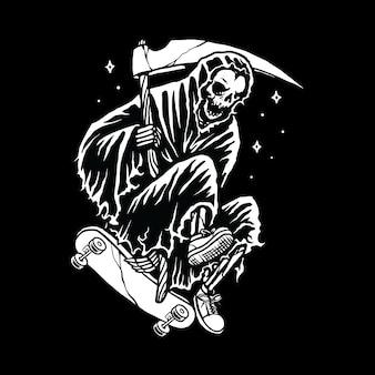 Skull grim reaper скейтбординг линия графическая иллюстрация вектор искусство дизайн футболки