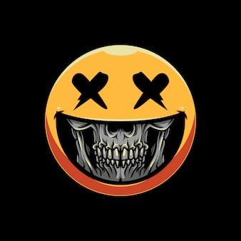 Skull grin emoticon illustration