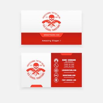 Skull and gun concept logo, studio tattoo business cards
