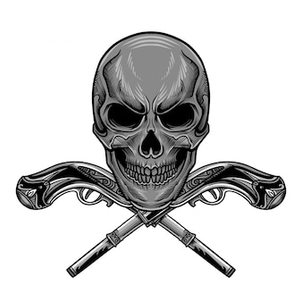 Skull gun vector