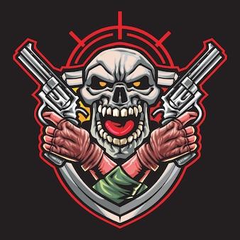 Skull gunner esport logo illustration