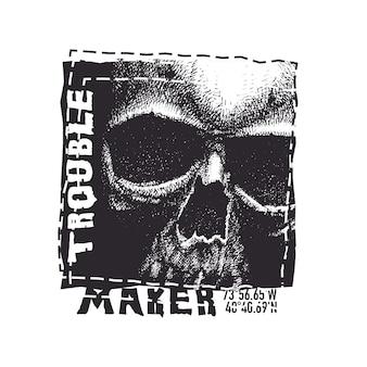 頭蓋骨。 tシャツのタイプミスのある手描きイラスト。
