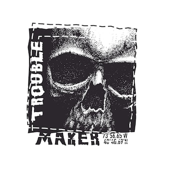 Skull. hand drawn illustration with typo for t shirt.