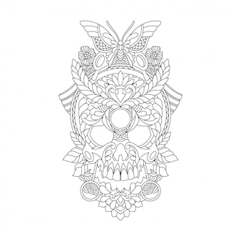 Skull hand drawn ornament illustration for adult coloring page