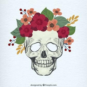 Череп рука с красивыми цветами