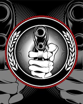 Skull hand holding a gun vector.
