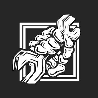 Skull hand of plumber or mechanic hand in a fist holding a wrench or spanner vector