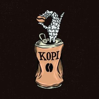 Рука черепа с кофе стиль иллюстрации для товаров