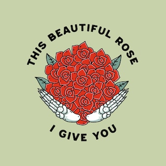Tシャツのバラの花のイラストヴィンテージレトロなデザインの頭蓋骨の手
