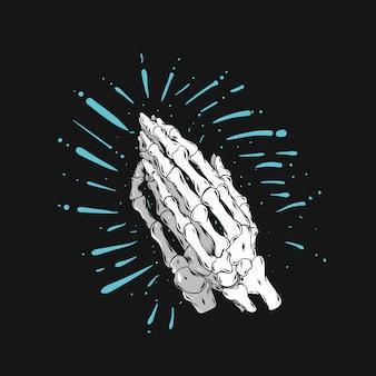 Skull hands pray