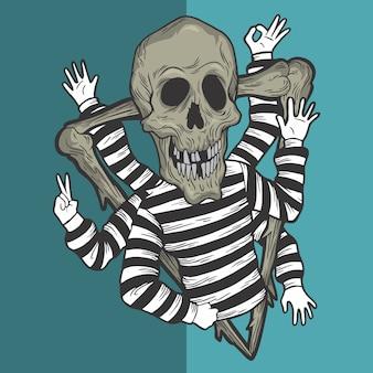 The skull has many hands