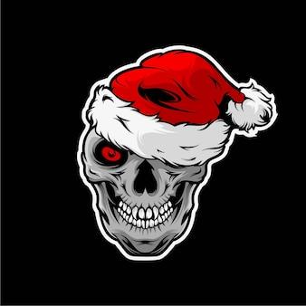 Skull hat christmas mascot illustration