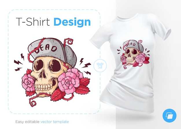 Skull in hat with roses illustration and tshirt design