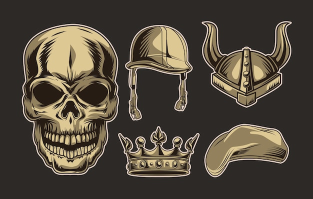 Skull head and accessories set