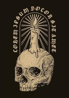 Голова черепа и свеча. векторная иллюстрация рисованной гравюра