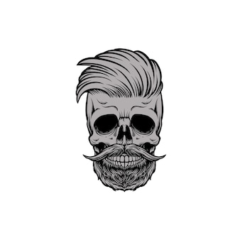 Skull head barbershop with mustache and beard