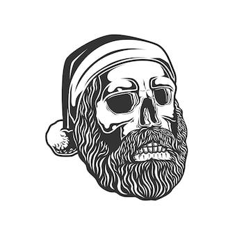 サンタの帽子をかぶった頭蓋骨の頭。
