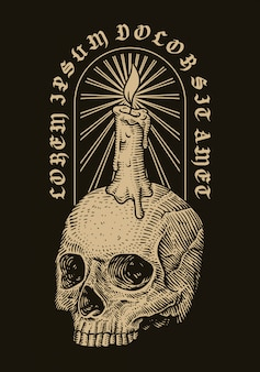 Skull head and candle. vector hand drawn engraving illustration