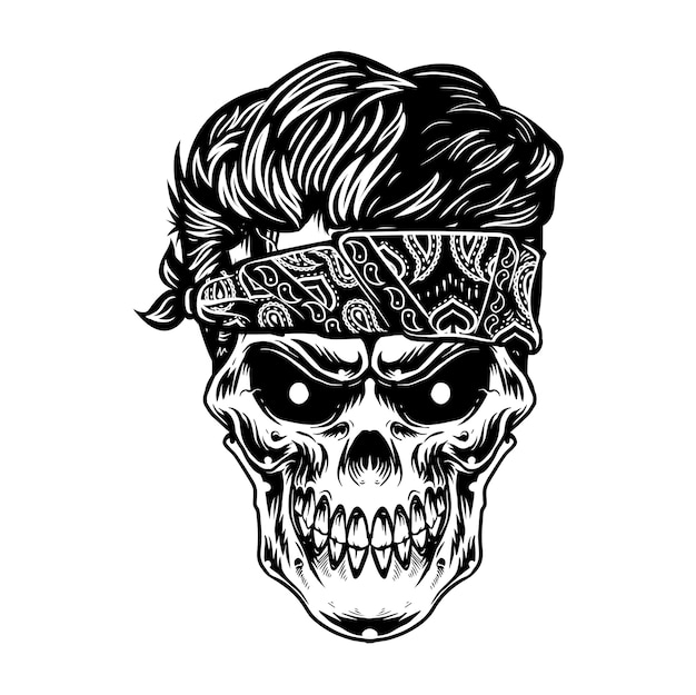 Skull head and clean stylish hairstyle for barbershop