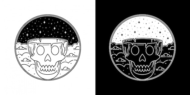 Skull head in the cloud monoline badge design