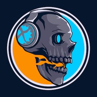 Skull head esport game logo
