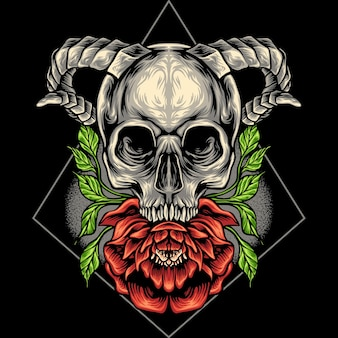 The skull head and flower