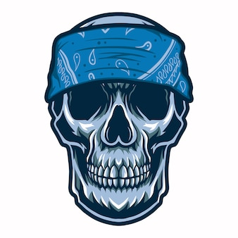 Skull head gangster with bandana   illustration isolated on white background