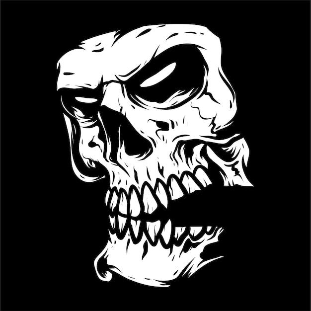 Skull head hand drawing, isolated