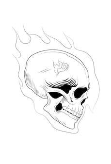 頭蓋骨頭手描きベクトル