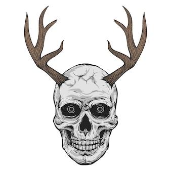 해골 머리 일러스트 디자인 사슴 뿔, 검정과 명중