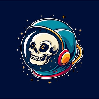 宇宙飛行士のヘルメットの頭蓋骨の頭