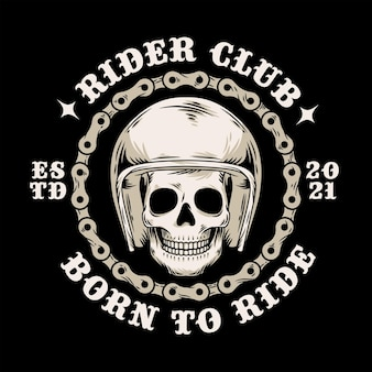 원형 오토바이 체인 빈티지 스타일 일러스트와 함께 헬멧에 두개골 머리