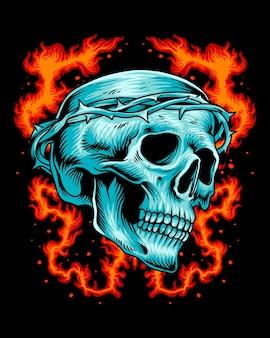 Skull head jesus crown on fire