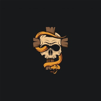 Skull head logo design ilustration