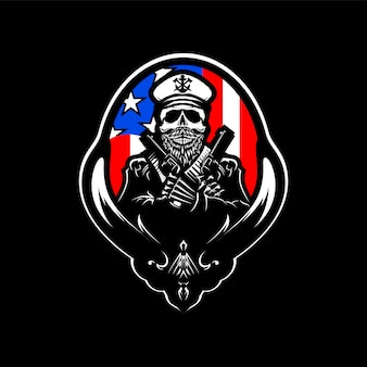 Skull head logo vector illustration with america flag