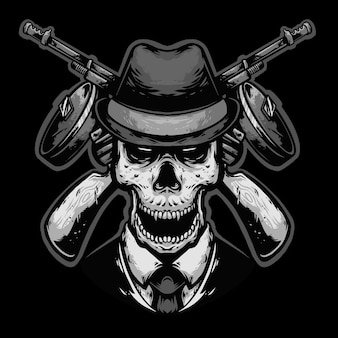 Череп головы мафии с оружием дизайн логотипа талисман