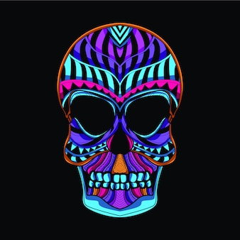 Skull head in neon color