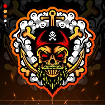 Skull head pirates esport logo design