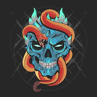 Skull head punk and snake artwork detail vector with editable layers good